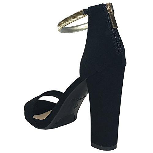Black Womens Strap TPU Pu Ankle Heel Nubuck Bamboo Band Gold With Single Chunky Sandal SxWqP6Ad