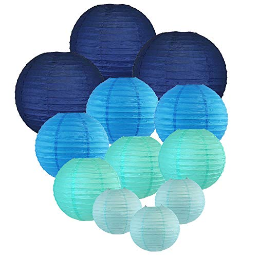 Just Artifacts Decorative Round Chinese Paper Lanterns 12pcs Assorted Sizes & Colors (Color: Blues) ()