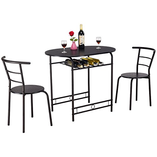 (Top_Quality555 Black Round Dining Table Set and 2 Chairs Home Kitchen Breakfast Bistro Pub Furniture 3 PCS)
