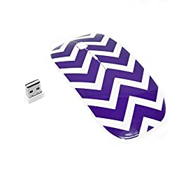 TopCase 5 in 1 - Chevron Purple Rubberized Hard Case and Matching Color Keyboard Cover + Screen Protector + Sleeve Bag + Wireless Mouse for Macbook Air 13\