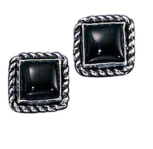 Sterling Silver Square Roped Edge Black Onyx Post Stud Earring