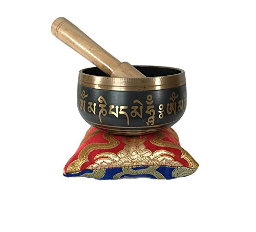 Tibetan Singing Bowl – Premium Quality Exquisite 3 Bowl – Complete Set With Mallet  Cushion – Handmade in Nepal – Unique Buddha's Eyes Design