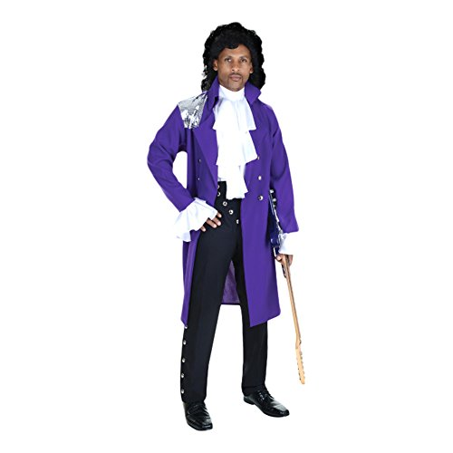 [Men's 80's Pop Star Halloween Cosplay Costume Ruffle Shirt Purple Coat (Not Include the wig)] (Purple Wig Costumes)