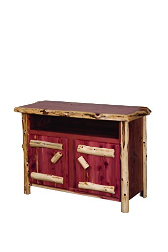 Rustic Red Cedar Log Entertainment Stand - Amish Made in the USA - Amish Pedestal