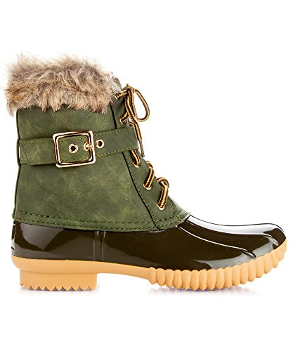 Boots Fleece Mid Booties Rain Sock Olive Water Resistant Rubber Duck Shearling Lined Calf Snow Women's ROF TqFxa