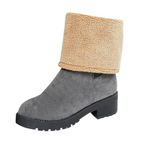 Botas Mujer,Ouneed ® Botas de nieve de doble uso Moda invierno mantenga tibia Color sólidos zapatos Gris