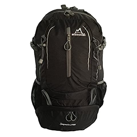 MISSION PEAK GEAR Sequoia 2700 45L Internal Frame Hiking Backpack Daypack, PFS Polymer Form Suspension, Ripstop Nylon, Waterproof Rain Cover, Trekking, Camping, Travel, Backpacking, School, Laptop - Internal Stop