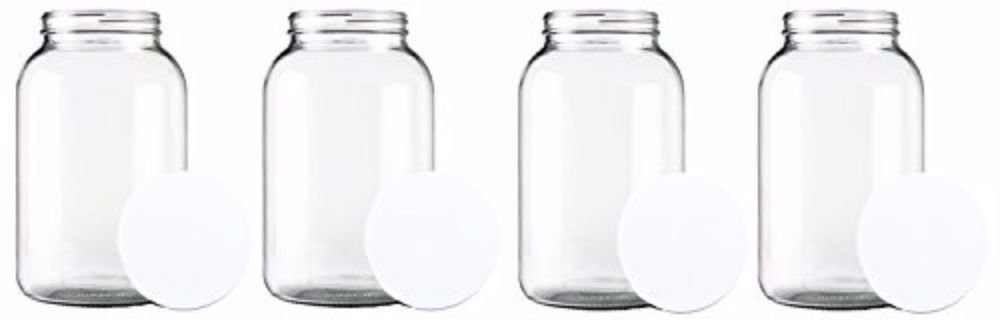 Home Brew Ohio One gallon Wide Mouth Glass Jar with Lid-Set of 4