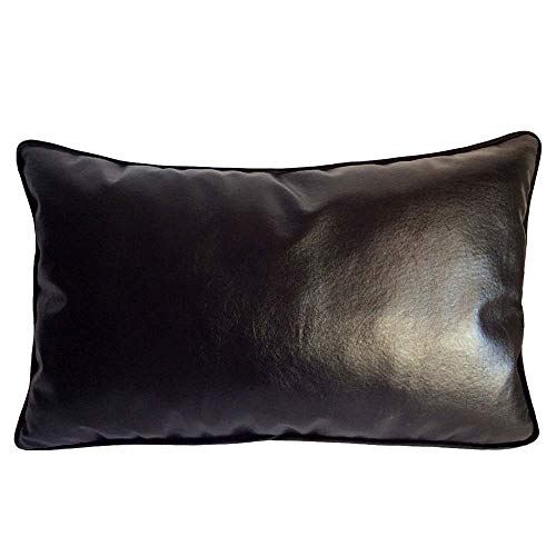 """pillowerus Artificial Leather Black 14""""x24"""" Inches Couch Pillowcase Cushion Cover - Modern Fashionable Decorative Throw Lumbar Bolster Pillow Case with Piping for Indoor-Outdoor Home, Office, Car"""