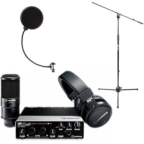 Steinberg UR22 MKII RP Recording Pack Interface with Cubase, Headphones & Microphone with AxcessAbles Pop Filter and AxcessAbles MS-101 Mic Stand