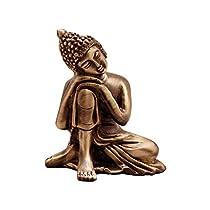 eCraftIndia Resting Buddha on Knee Metal Showpiece (7.5 cm x 5.38 cm x 9.38 cm, Brown, AGB506)