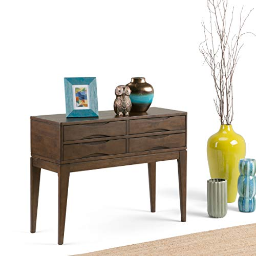 Simpli Home 3AXCHRP-04 Harper Solid Hardwood 40 inch Wide Mid Century Modern Hallway Console Sofa Table in Walnut Brown