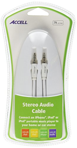 Accell 3.5mm Stereo Audio Cable - 7 Feet, White, 3.5mm (Male) to 3.5mm (Male)