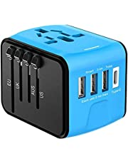 Disgian Travel Adapter, Universal International Power Adapter with 3USB Port And Type-C International Wall Charger Worldwide AC Power Plug for Multi-nation Travel UK, EU, AU Over 200 Countries (Blue)