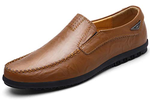 (Go Tour Men's Premium Genuine Leather Casual Slip on Loafers Breathable Driving Shoes Fashion Slipper A Brown 8/41)