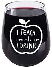 Teacher Appreciation Gifts - I Teach Therefore I Drink - Stemless Tritan Plastic Wine Glass - 16 Ounce - Teacher Wine Glass