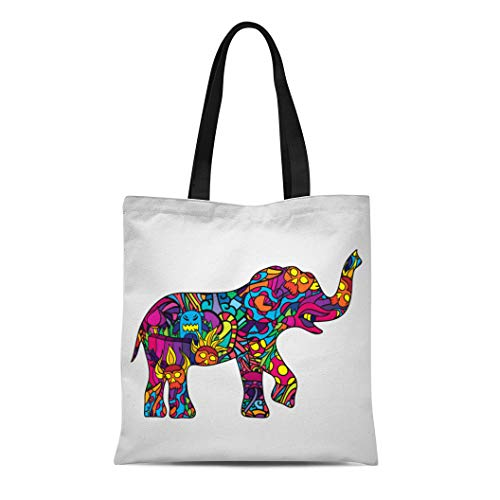Semtomn Cotton Canvas Tote Bag Blue 60S Psychedelic Elephant Body Silhouette Pink Africa Animal Reusable Shoulder Grocery Shopping Bags Handbag Printed
