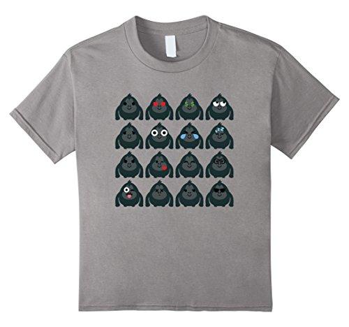 Kids Gorilla Strong Emoji Different Emotion Shirt T-Shirt Tee 6 Slate (Youth Gorilla Costume)