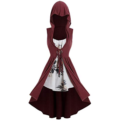 Women's Sexy 2Pcs Gothic Punk Cloak,Vintage High Low Sweatshirts Tunic Tops Oversize Lace Up Hoodies Gown Party Costume Outfit Plus Size (Wine, L)]()