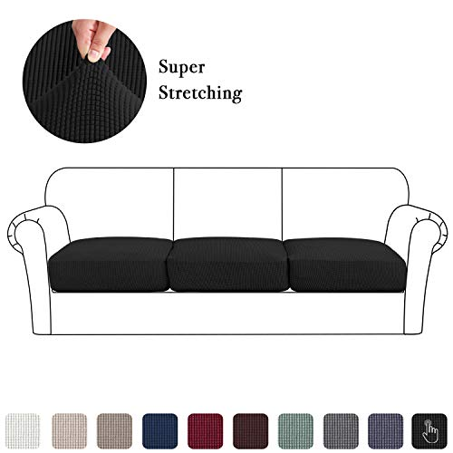 Jacquard Cushion Covering Set of 3, High Stretch Sofa Seat Slipcovers Chair Couch Coats Furniture Protector Decor (3 Pieces Cushion Covers, Black)