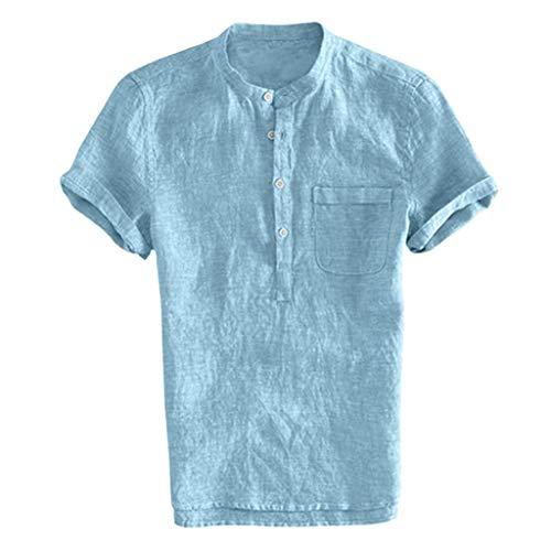 (RoDeke Men's Retro Casual Solid Color Button V Neck Pocket Tee Short Sleeve Shirt Fitness Bodybuilding Running Light Blue)