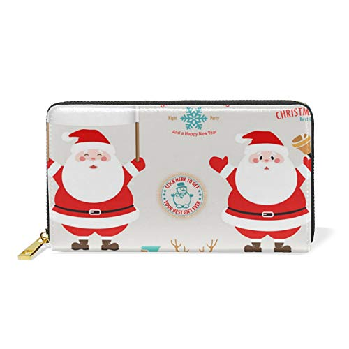 8' Leather Bi Fold Wallet - Adorable Dab Santa ClausWomen Large Capacity Genuine Leather Bifold Multi Card Organizer travel Wallet with Zipper Pocket, Stylish And Portable Purse.