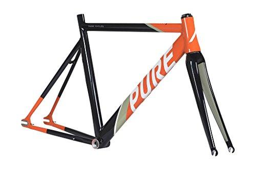 Pure Cycles Keirin Pro Track Triple-Butted 6061 Aluminum Bike Frameset, Detraux Orange, 58cm/Large