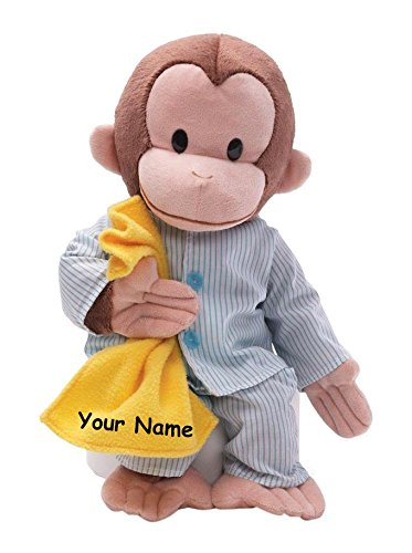 Personalized Curious George in Striped Pajamas with Yellow Blanket Plush Stuffed Animal Toy - 16 Inches