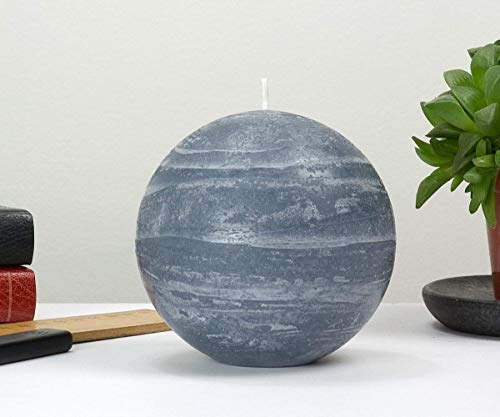 Nordic Candle - 4 Inch Ball Candle - Slate Blue Rustic Sphere - Unscented