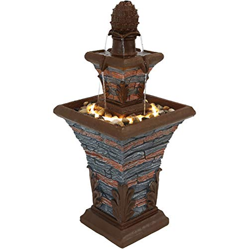 Sunnydaze Square 2-Tier Outdoor Water Fountain with LED Rope Light and Stacked Stone Design, ()
