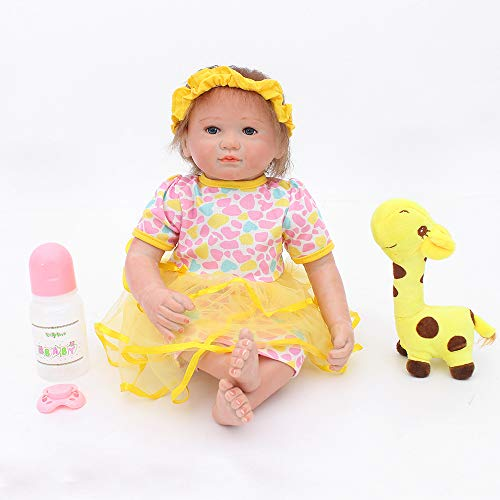 Warmdoll 18 inch Real Life Reborn Baby Doll,Pretty Dora,Girl Doll Crafted in Vinyl Like Silicone and Weighted Cloth Body - Dress Dora Doll Up