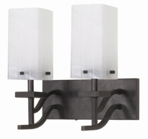 Nuvo 60/005 Two Light Vanity with Alabaster Glass, Textured Black