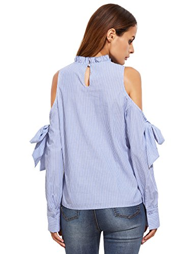 3af48d393fb5fc SheIn Women s Striped Ruffle Stand Collar Cold Shoulder Blouse - Buy ...