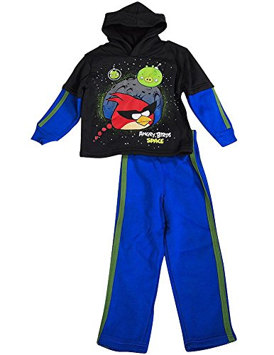 Angry Birds - Little Boys' Long Sleeve Angry Birds Jog Suit Set, Black, Royal 36512-4T -