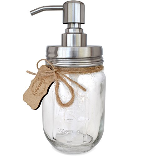 Foaming Mason Jar Soap Pump - Includes Rust Resistant 304 18/8 Stainless Steel Foaming Pump and 16 oz (Regular Mouth) Glass Mason Jar by Premium Home Quality (Stainless Steel, 16