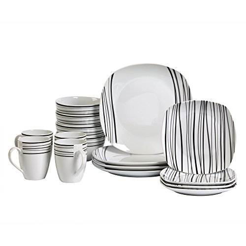 (Tabletops Gallery Justin - 16 Piece Square Dinnerware Set, Service of 4)