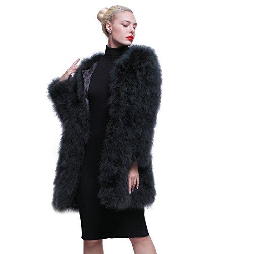 URSFUR Women Winter Jacket Real Ostrich Feather Fur Coat Opal Green XL by URSFUR (Image #2)