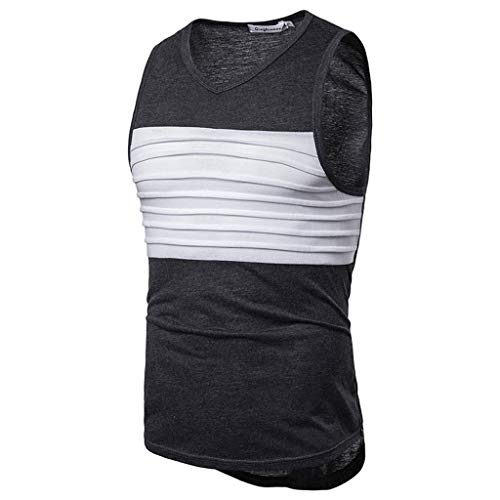 Forthery Men'S Striped Splicing V Collar Tank Top Slim Fit Athletic Tee Shirt Workout Fitness Vest(Dark Gray,US Size XL = Tag 2XL) ()
