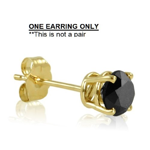 1/2ct Single Black Diamond Solitaire Stud Earring set in Yellow Gold