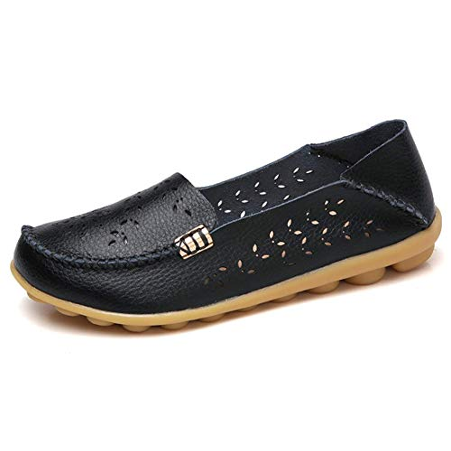 zhenghewyh Women Leather Loafers Casual Driving Slip on Flat Shoes Comfortable Walking Shoes for Ladies(7.5 M,Black) ()