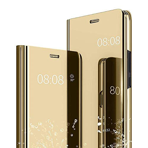(Galaxy S10 Plus Case, Ankoe Luxury Translucent View Mirror Flip Electroplate Plating Stand Shockproof 360 Full Body Protective Hard PC Cover for Samsung Galaxy S10 Plus (Gold) )