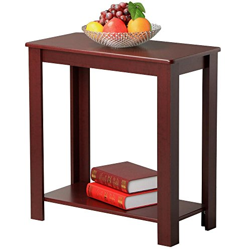 Price comparison product image Yaheetech Chair Side Table Coffee Sofa Wooden End Shelf Living Room Furniture,  Wine Red