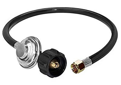 """DOZYANT Universal QCC1 Low Pressure Propane Regulator Grill Replacement with 24 inches Hose for Most LP Gas Grill, Heater and Fire Pit Table, 3/8"""" Female Flare Nut"""