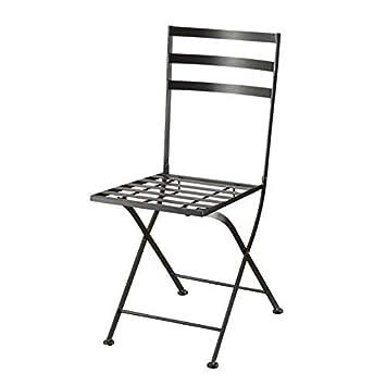 4D Concepts Black Metal Chair, Metal Slate, 2-Pack