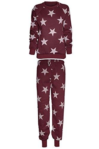 Be Jealous - Jogging Femme Fille Imprimé Graphique Manche Longue Sweatshirt et Pantalon - M/L 40-42, Bordeaux