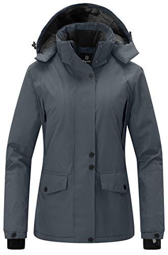 Wantdo Women's Mountain Rain Jacket Windproof Fleece Ski Coat Waterproof Hooded Warm Winter Parka