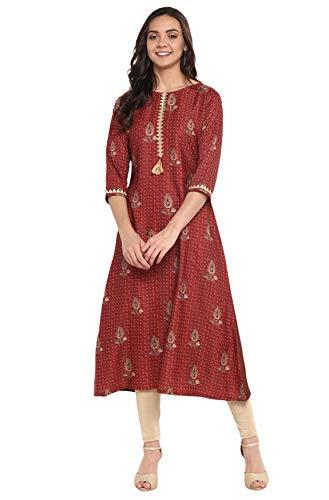 Janasya Indian Tunic Tops Crepe Kurti for Women (JNE3290-KR-XXXL) Brown