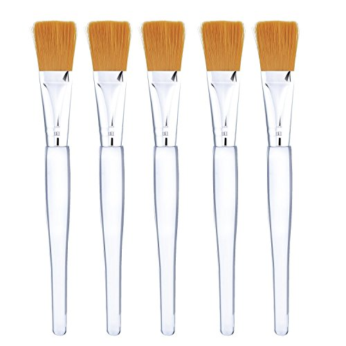 Mudder Facial Mask Brush Makeup Brushes Cosmetic Tools with Clear Plastic Handle, 5 Pack (Silver)