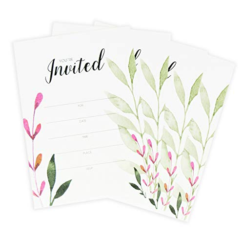 Birthday Party Invitations for Girls, Bridal and Baby Shower Invitations for Adults, 5x7 Wedding Invitations Card Kit with Envelopes, Graduation Party Invitations - 5 x 7 Inches, 25 Count -