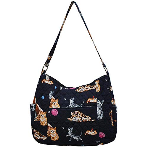 Hobo Quilted Handbags Bags - Ngil Quilted Cotton Hobo Shoulder Bag (Kittens Navy)